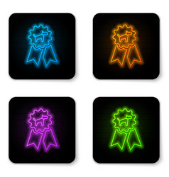 glowing neon dog award symbol icon isolated on vector image