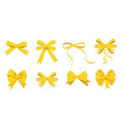 Gold bow set cartoon yellow ribbons satin bows vector