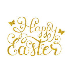 golden happy easter inscription vector image