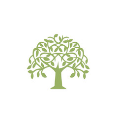 Green tree abstract plant logo vector