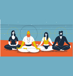 group people sitting in yoga posture and vector image