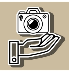 hand and photographic camera isolated icon design vector image