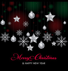 hanging stars flakes happy christmas vector image