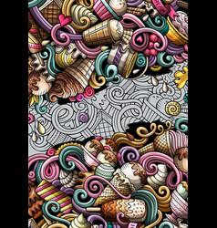 Ice cream hand drawn doodle banner cartoon vector