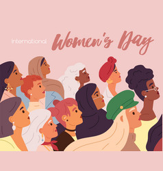 international womens day greeting card or flyer vector image