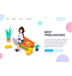 isometric best freelancers concept vector image