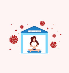 keep calm stay home self isolation in quarantine vector image