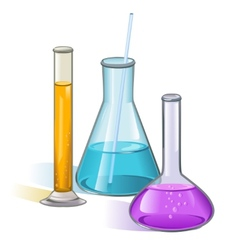 Laboratory flasks glassware concept vector