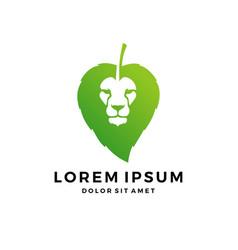 Lion leaf head nature hair logo download vector