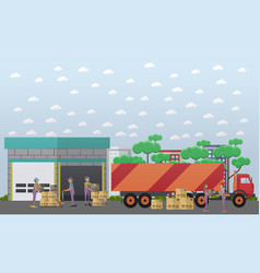 logistics warehouse in flat vector image