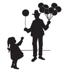 Man handing young girl balloon vintage vector
