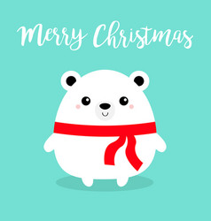 merry christmas bear face head body round icon vector image