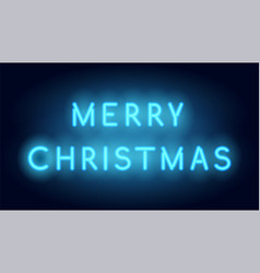 Merry christmas neon lettering realistic vector