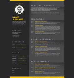 Minimalist dark resume cv template vector
