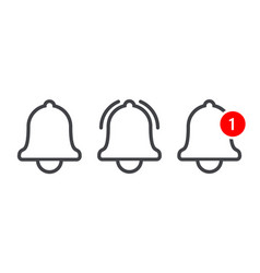 notification message bell line icon vector image