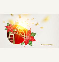 Oil industry christmas design with red poinsettia vector