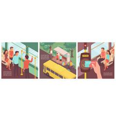 public transportation tips set vector image