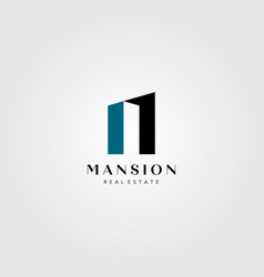 real estate building logo mansion number one vector image