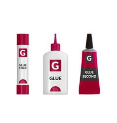 realistic glue tube stick bottle mockup set vector image