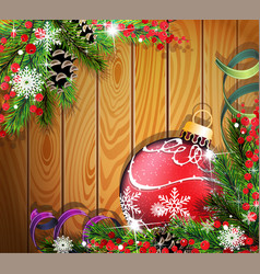 red christmas ball on wooden background vector image