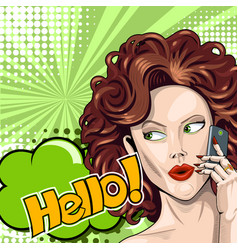 Redhead girl says hello on smartphone in comic vector