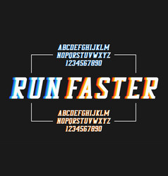 Retro sport font with colorful overlap effect vector