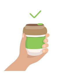 Reusable coffee cup - zero waste concept vector