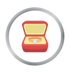 Ring in box icon in cartoon style isolated on vector image