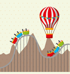 roller coaster and flying hot air balloon vector image