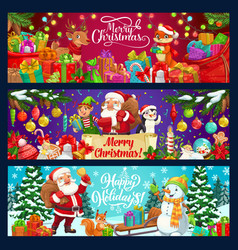 santa snowman elf with gifts christmas banners vector image