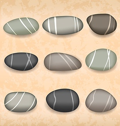 Sea pebbles collection on sand background vector image