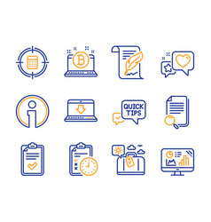Search file exam time and travel luggage icons vector