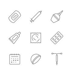 set line icons contraception vector image