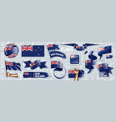 set national flag new zealand in vector image
