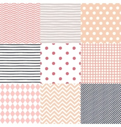Set of 9 hand drawn painted geometric seamless vector image