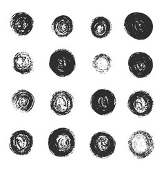 set of black grunge scratched round textures vector image