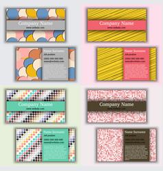 set of vintage business card vector image