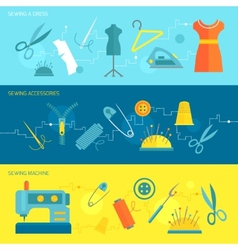 Sewing equipment banner flat vector