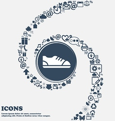Shoe icon in the center Around the many beautiful vector