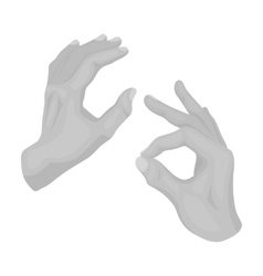 Sign language icon in monochrome style isolated on vector