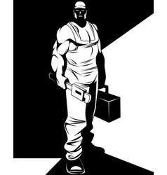 silhouette of man repairman vector image