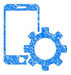 Smartphone configuration gear grunge icon vector