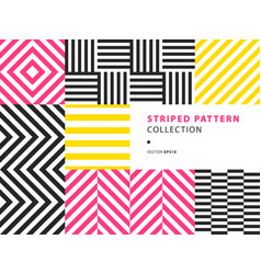 striped seamless patterns set vector image