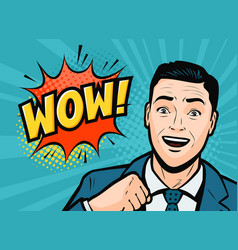 successful businessman is delighted retro comic vector image