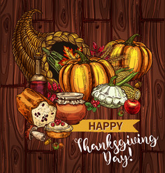 thanksgiving day sketch cornucopia poster vector image