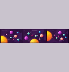 The solar system set of colorful cartoon vector