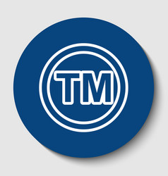 Trade mark sign white contour icon in vector