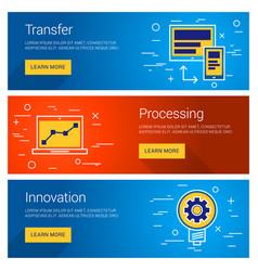 transfer data processing innovation line art flat vector image