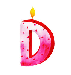 Watercolor happy birthday letter d candle vector