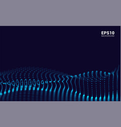 Waves with particles on dark background dot vector